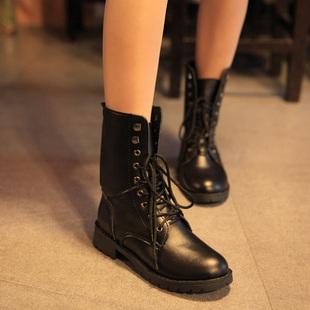 秋冬短靴英伦骑士靴单靴机车靴粗跟马丁靴厚底系带裸靴女靴子女鞋