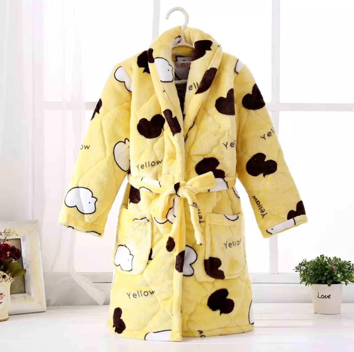 Color classification: Quilted padded robe Yellow Duck