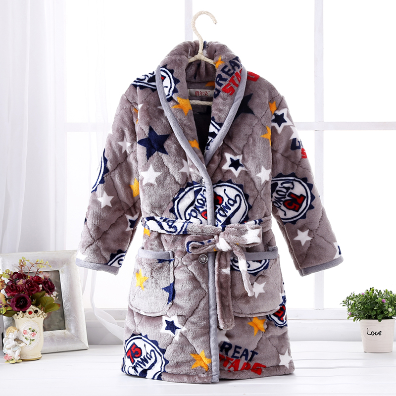 Color classification: Quilted padded robe grey star