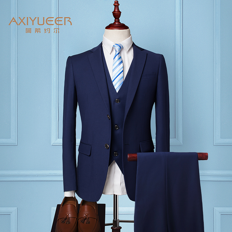 Color: Two-button Navy Blue (suit + jacket + trousers) + 9 gift