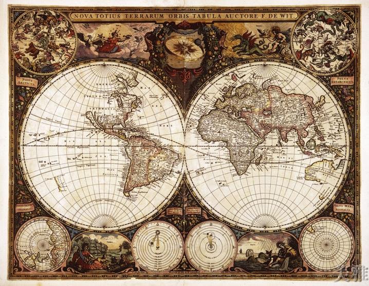 仿古地圖98畫芯獨立90cm x 70cm北歐式裝飾畫/世界仿古地圖98裝飾畫/古地圖掛畫(畫芯)