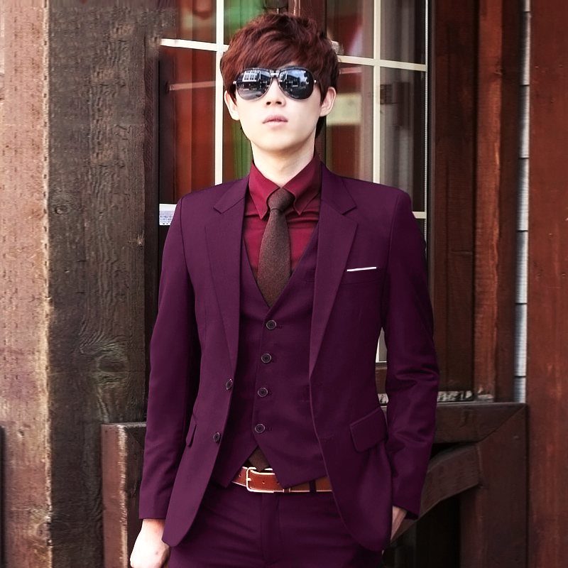 Color: Purple-red double buckle (suit + jacket + trousers)