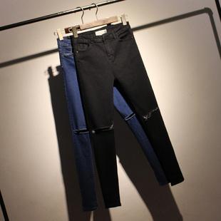 春夏新款韩版高腰破洞九分牛仔裤女小脚裤弹力修身显瘦铅笔长裤子