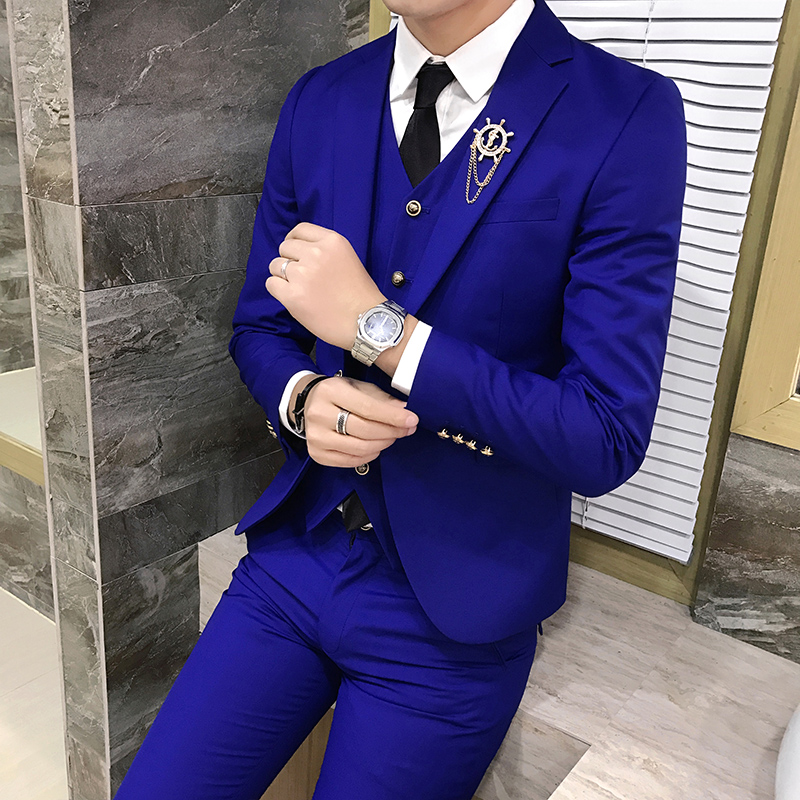 Color: Pants and a light blue suit
