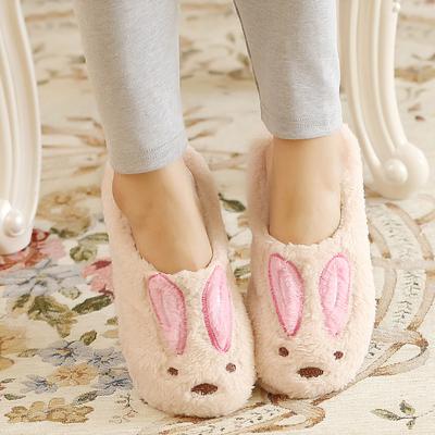 可爱卡通兔棉拖居家防滑棉鞋毛绒地板情侣保暖拖鞋跟