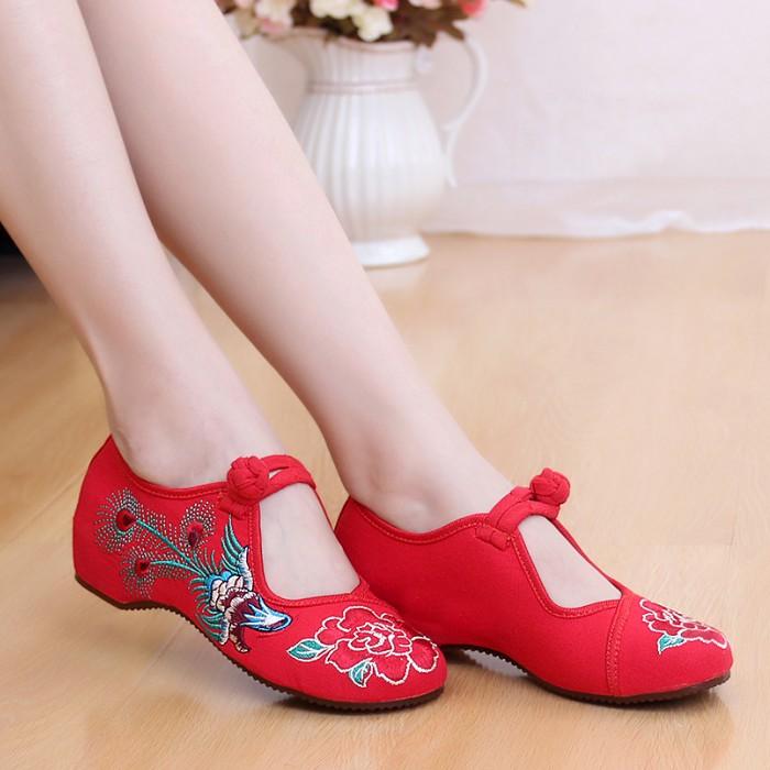 黑色34鳳凰牡丹民族風繡花鞋老布鞋旗袍漢服廣場舞蹈鞋紅婚鞋女單鞋