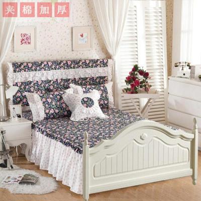 全棉斜纹夹棉绗缝欧式无床尾两边床裙床罩单件纯棉床