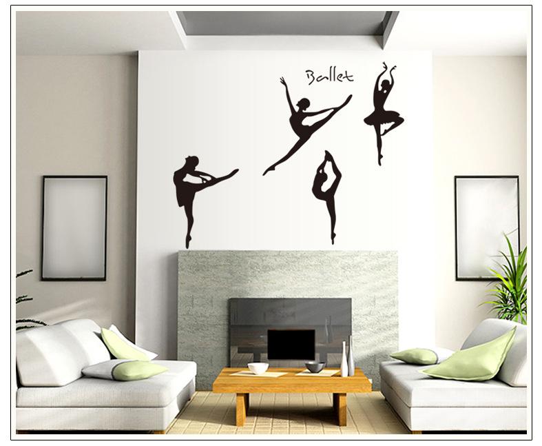 ay9061中跳芭蕾舞的女孩音樂舞蹈教室布置復古懷舊窗貼可移除藝術墻貼