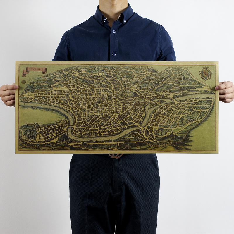 h016牛皮紙材質獨立72x32cm古羅馬鳥瞰圖地圖 懷舊復古 牛皮紙海報室內裝飾畫