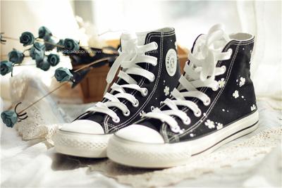 碎花家秋季新款原创涂鸦手绘点点碎花环球高帮韩版休闲学生帆布鞋