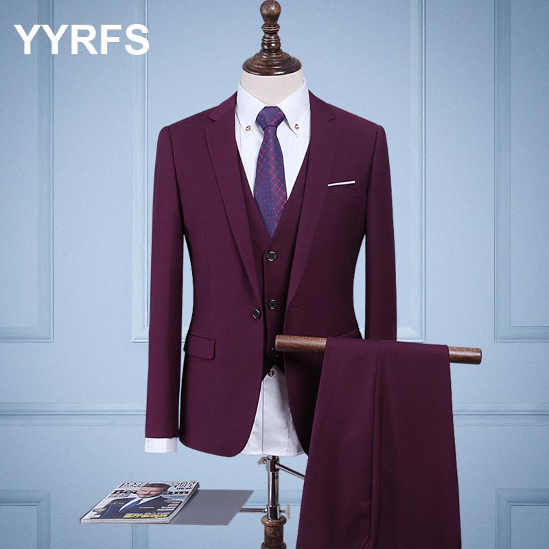 Color: Purple three piece suit (jacket + pants + vest)