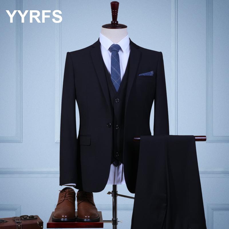 Color: Black three piece suit (jacket + pants + vest)