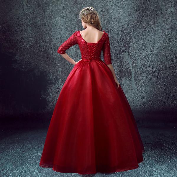 酒紅色蕾絲中長袖新娘結婚敬酒服長款晚宴婚紗禮服2015新款 7692