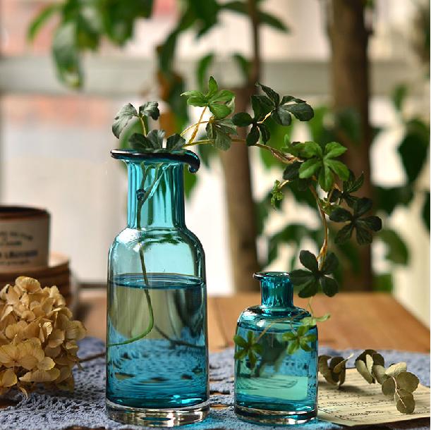 欧式文艺复古玻璃花瓶水晶家居装饰摆件水培瓶花插瓶zakka杂货