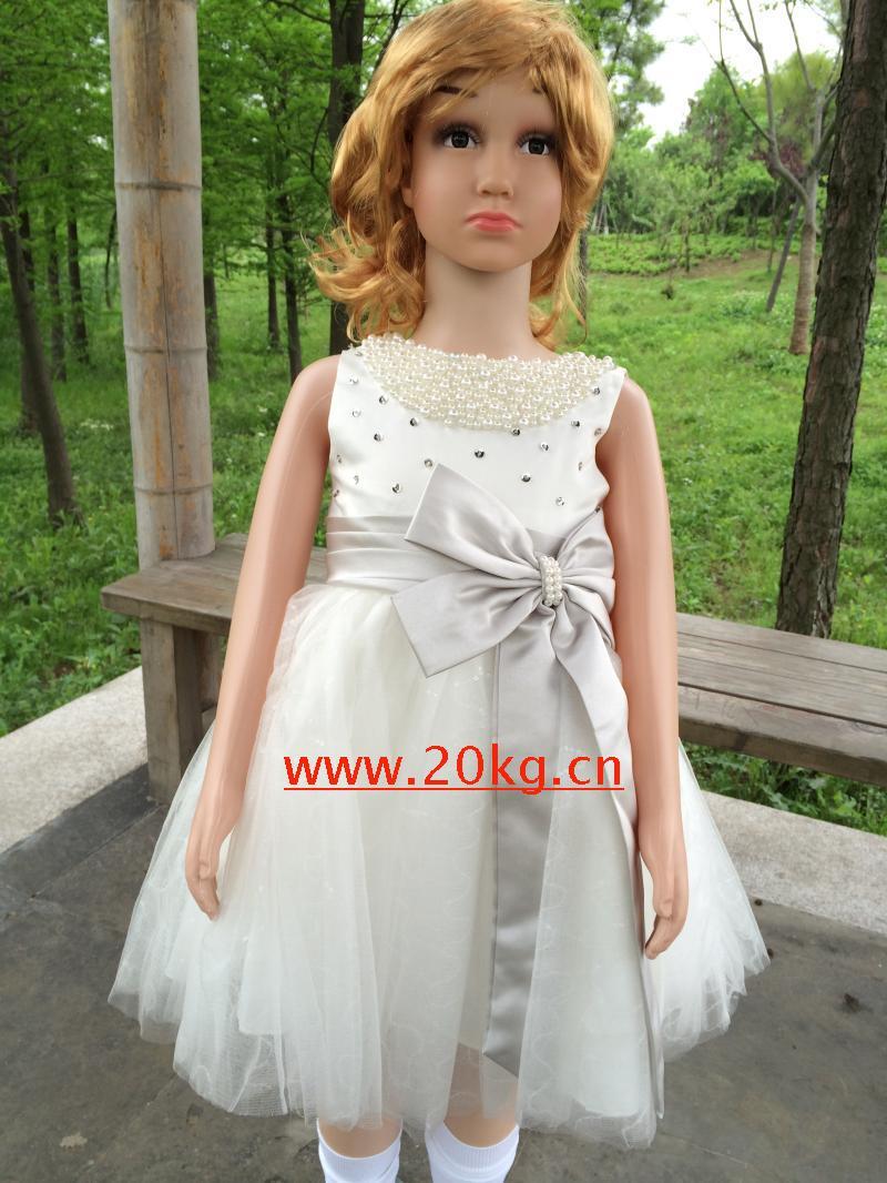 花童禮服小婚紗公主裙花童裙兒童禮服表演服演出服女花童服花童裝白色80cm(80cm)