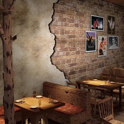 复古怀旧年代欧式大型壁画3d立体红色砖墙砖纹壁纸中