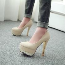 春季新款单鞋 性感欧美夜店拼接撞色防水台细跟超高跟大小码