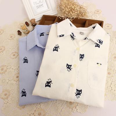 日系森林系15年秋冬新款女装可爱小猫印花翻领长袖衬