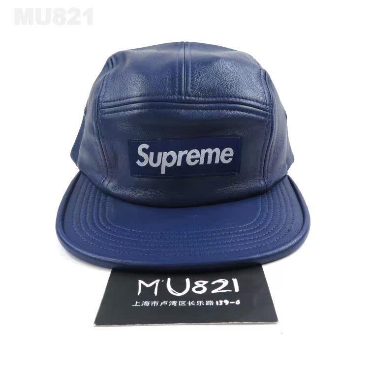 现货 FW15 SUPREME LEATHER CAMP CAP 真皮帽子 BOX LOGO 高级