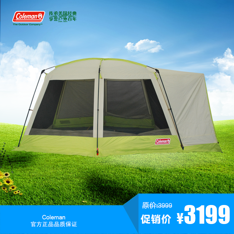 Authentic coleman Coleman outdoor c&ing tent luxury two-bedroom Bedroom large space transparent tent & Authentic coleman Coleman outdoor camping tent luxury two-bedroom ...