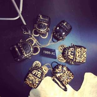 Leopard in autumn and winter miqimamao little monsters lovely diagonal chain rivet personality mini bag