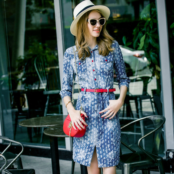 Luo boutique women's 2015 Autumn new mill shall do the old hole denim skirt split dress