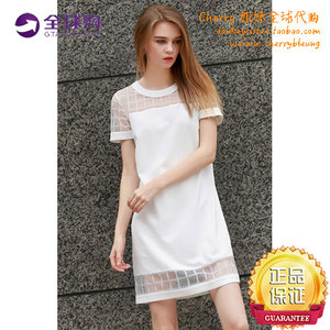 Round neck white short-sleeved plaid chiffon dress