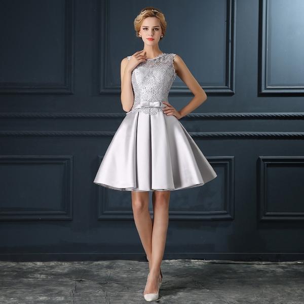2016灰色短款蕾絲顯瘦結婚小禮服裙新娘敬酒服伴娘晚禮服連衣裙女