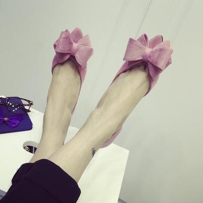 新款韩版气质优雅蝴蝶结绒面尖头侧空细跟中跟单鞋百搭时尚女鞋子