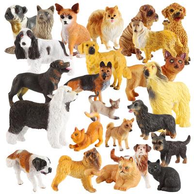 玩偶家居摆件狗狗玩具可爱小狗模型仿真猫咪模型小号