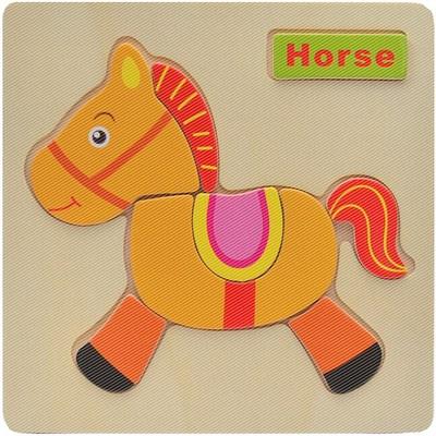 木制拼图卡通动物立体早教益智力宝宝积木幼儿童玩具