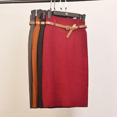 韩国冬季款加厚毛线针织包臀裙高腰显瘦螺纹半身裙弹力中长裙女装