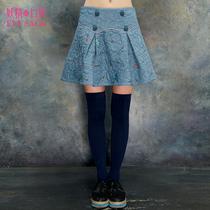 妖精的口袋 不要喝酒 冬装新款女欧美百搭双排扣刺绣半身裙