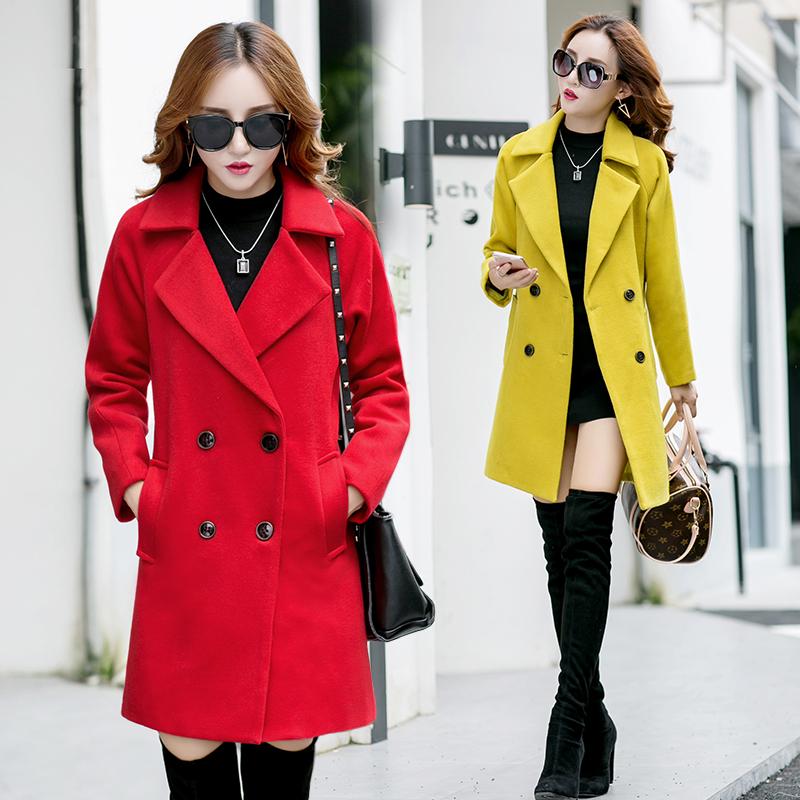 红色毛呢外套冬装新款2016呢子大衣