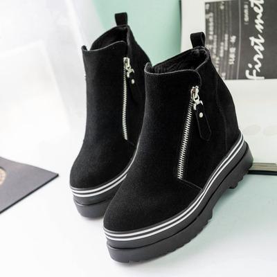 2015秋冬季最新款真皮马丁靴女内增高短筒皮靴休闲美女短靴裸靴子