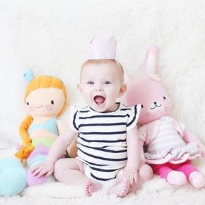 Boys and girls baby fly sleeve striped cotton Triangle Romper climbing clothes bag fart clothing