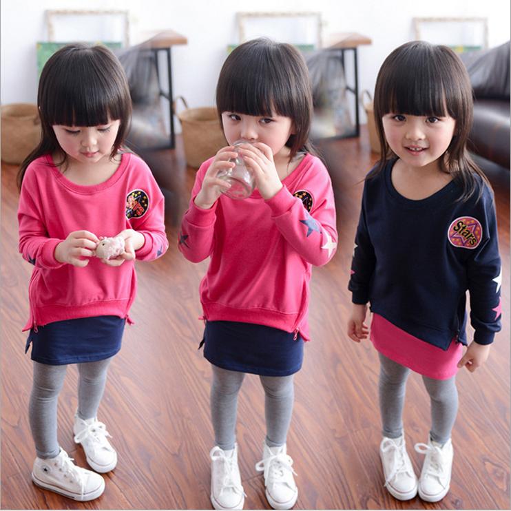 韓版童裝2-3-4-5歲中小童女童寶寶兩件套潮休閑衛衣裙褲套裝藏青色110cm(110cm)