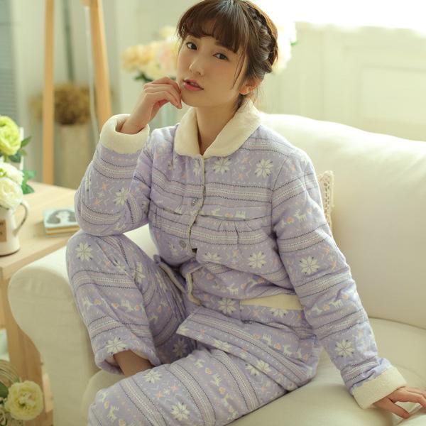 可爱日系雪花冬季三层加厚保暖夹棉睡衣家居服套装码