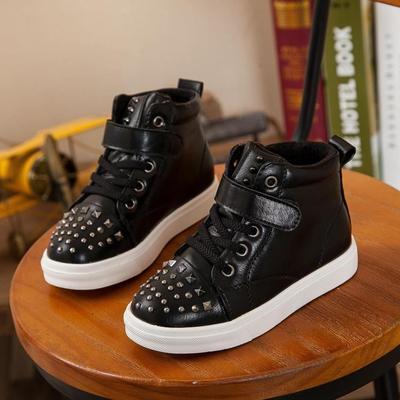 2015冬季新款男童女童儿童鞋子休闲板鞋中筒靴子保暖棉鞋铆钉皮质