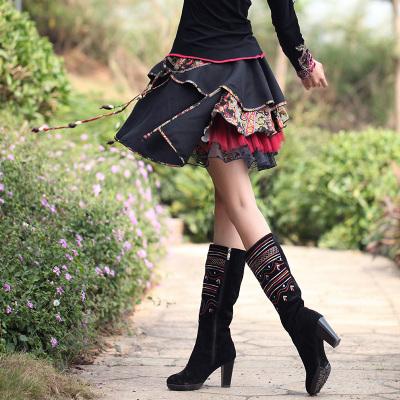 黑色m2016新款原創設計新款民族風三層半身裙子 秋冬裝網紗百搭短裙女