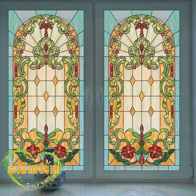 歐美彩色窗戶貼 彩繪藝術磨砂玻璃貼膜復古教堂玻璃衣櫥柜門貼紙40x60mm半透/張