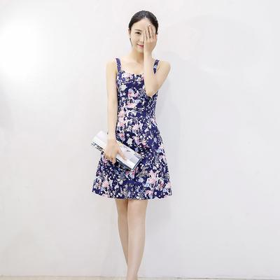 2015夏季新款碎花吊带裙小清新印花露背连衣裙女收腰显瘦度假短裙