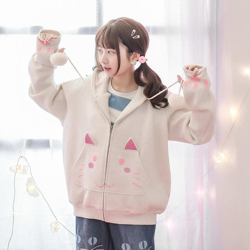 Áo khoác nữ lót bông họa tiết in hoa họa tiết mặt mèo mẫu mới mùa thu kiểu dáng rộng rãi kiểu dáng dễ thương