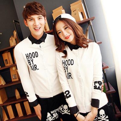 韩版情侣装秋冬立领假两件加绒衬衫男女长袖薄款卫衣外套学生班服