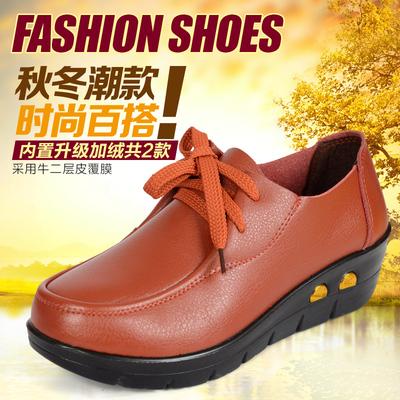 秋季新款牛皮坡跟平底软底妈妈鞋中老年真皮女鞋单鞋中年皮鞋
