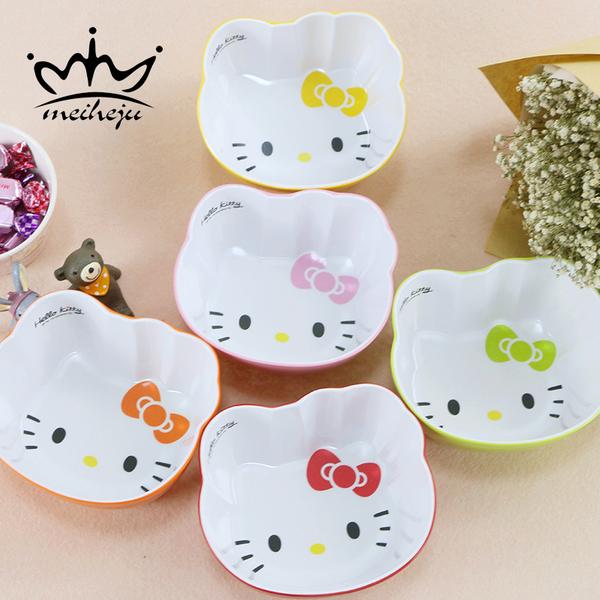 仿瓷密胺餐具碗可爱卡通kt猫碗草莓碗儿童饭碗粥碗