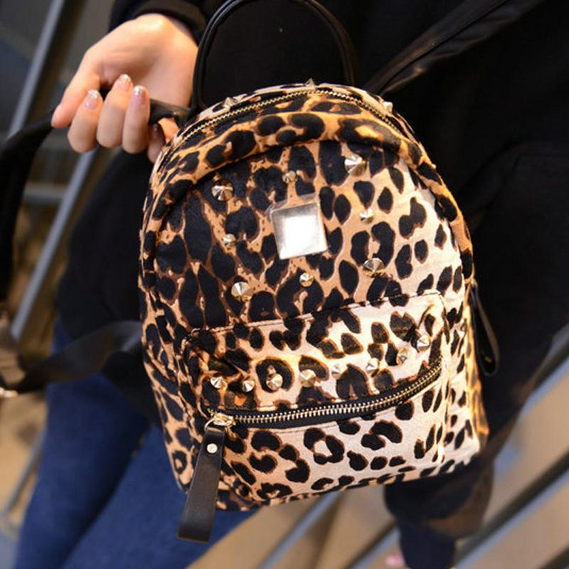 豹紋咖啡色小號新款時尚潮流鉚釘雙肩包女韓版潮小清新豹紋旅行背包書包