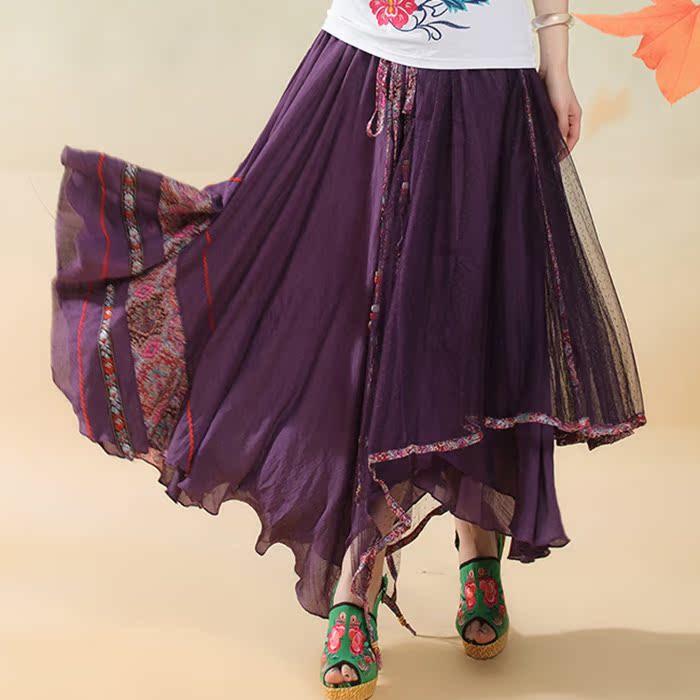 紫色均碼兩人故事復古原創民族風品牌文藝民族風女裝網紗多穿連衣裙半身裙