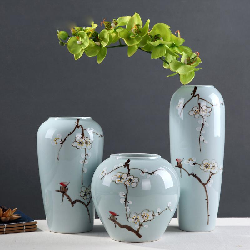 花瓶矮款器手繪人物臺面花瓶客廳禮品新房裝飾擺件