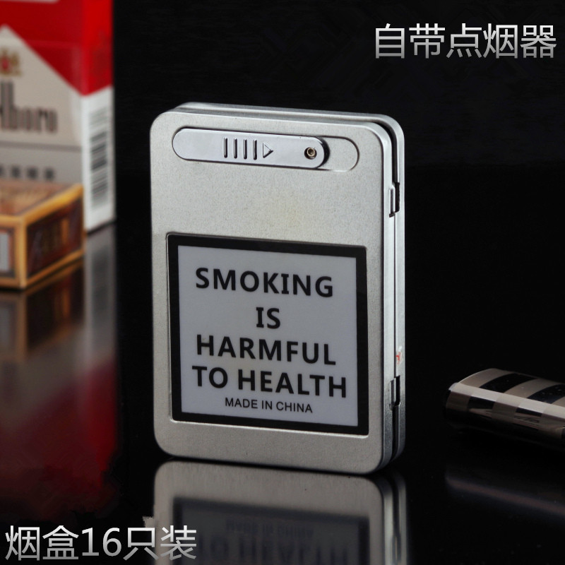 Vintage Metal Cigarette Case cigarette pack 20 ultra-thin combo with USB charging lighters can be customized lettering